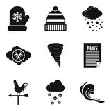 Met office icons set, simple style. Met office icons set. Simple set of 9 met office vector icons for web isolated on white background Stock Photography