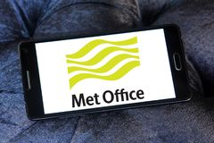 Met Office weather service logo. Logo of Met Office on samsung mobile . Met Office is the United Kingdom`s national weather service. It is an executive agency Royalty Free Stock Photo