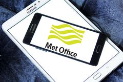 Met Office weather service logo. Logo of Met Office on samsung mobile . Met Office is the United Kingdom`s national weather service. It is an executive agency Stock Photo