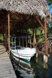 Met stro bedekt botenhuis met boot bij dok royalty-vrije stock afbeelding