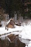 Met stro bedekt die dakhuis in sneeuw in de winter wordt behandeld Royalty-vrije Stock Foto