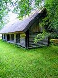 Met stro bedekt huis, mooie groene gras en boom stock afbeelding