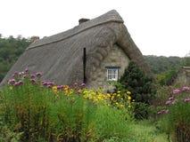 Met stro bedekt plattelandshuisje Stock Afbeeldingen