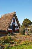 Met stro bedekt plattelandshuisje stock foto's
