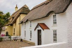 Met stro bedekt plattelandshuisje Kilmorekade provincie Wexford ierland stock afbeelding