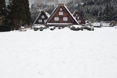 Met stro bedekte die dakhuizen in sneeuw in de winter worden behandeld Stock Afbeeldingen