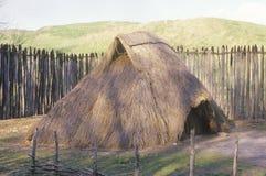 Met stro bedekte hut, Indische Cahokia, Illinois Royalty-vrije Stock Foto
