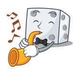 Met trompet dobbel de stijl van het karakterbeeldverhaal vector illustratie