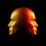 Met twee aangezichten hoofdstandbeeld, rood en goud Royalty-vrije Stock Afbeeldingen