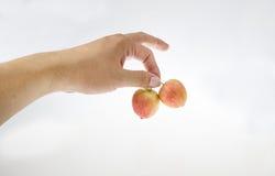 Met twee kleine appelen in zijn hand stock foto
