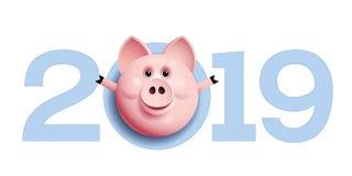 2019 met varkensgezicht De Chinese Groeten van het Nieuwjaar royalty-vrije stock foto's