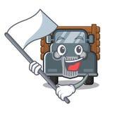 Met vlag miniatuur oude vrachtwagen als karaktervoorzitter vector illustratie