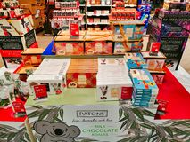 Met vrijstelling van rechten Chocolade in Sydney International Airport, Australië stock foto's