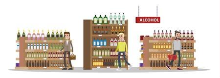 Met vrijstelling van rechten met goedkope flessen alcohol royalty-vrije illustratie