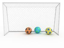 Meta blanca #6 del fútbol Imagen de archivo libre de regalías