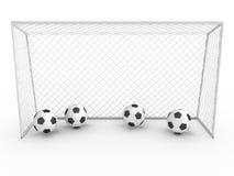 Meta blanca #3 del fútbol Fotos de archivo libres de regalías