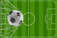 Meta 3d-illustration del fútbol del balón de fútbol del campo de fútbol ilustración del vector