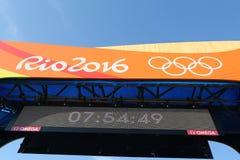Meta de la competencia olímpica del camino de ciclo de Río 2016 de la Río 2016 Juegos Olímpicos en Rio de Janeiro Imagen de archivo libre de regalías