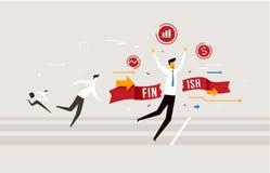 Meta de la travesía del hombre de negocios, lo ganan una competencia Cartas de Success Éxito, tarifas Fotografía de archivo