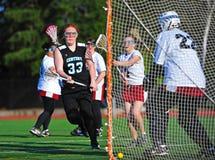 Meta de las muchachas del lacrosse primera Imagenes de archivo