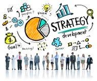 Meta del desarrollo de la estrategia que comercializa negocio del planeamiento de Vision Foto de archivo