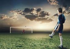 Meta del fútbol Fotos de archivo