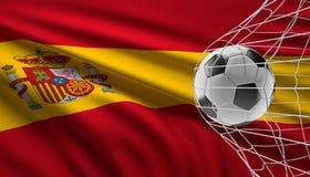 Meta del fútbol del balón de fútbol y bandera de España 3d-illustration ilustración del vector