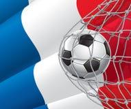 Meta del fútbol. Bandera francesa con un balón de fútbol. stock de ilustración