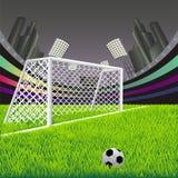 Meta del fútbol con la red Fotografía de archivo libre de regalías