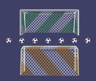 Meta del fútbol con la red de dos colores Imagen de archivo libre de regalías