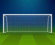 Meta del fútbol, poste del fútbol con la red en un fondo del estadio ilustración del vector
