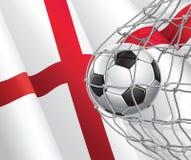 Meta del fútbol. Bandera inglesa con un balón de fútbol. Imagenes de archivo