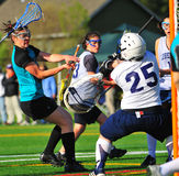 Meta del lacrosse del equipo universitario de las muchachas Fotografía de archivo libre de regalías