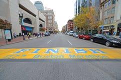 Meta del maratón de Boston, Boston, los E.E.U.U. fotografía de archivo libre de regalías