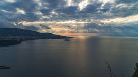 Meta di Sorrento, comune in the Province of Naples, travel, hotels, road and transportation, beautiful clouds and sunny line light stock images