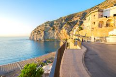 Meta di Sorrento, southern Italy. Embankment and beach of Meta di Sorrento, southern Italy Stock Photography