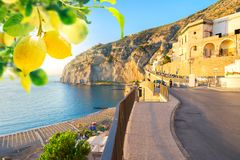 Meta di Sorrento, southern Italy. Embankment and beach of Meta di Sorrento with lemons, southern Italy stock photos