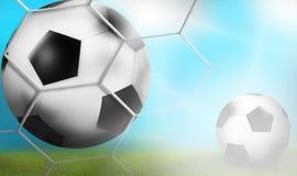 Meta - diseño de la bola 3D del fondo del fútbol ilustración del vector