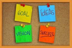 Meta, ideas, Vision y éxito Imágenes de archivo libres de regalías