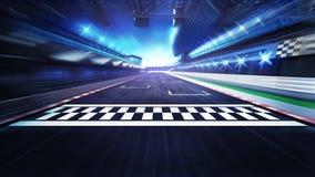 Meta na torze wyścigów konnych z światłami reflektorów w ruch plamie Fotografia Royalty Free