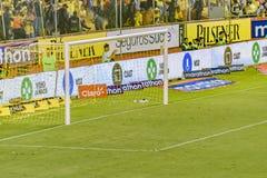 Meta vacía del fútbol en el partido de liga Guayaquil Ecuador Imagen de archivo libre de regalías