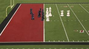 Meta vermelho do futebol da xadrez Fotos de Stock