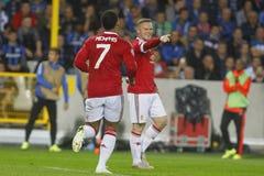 Meta Wayne Rooney Champion League FC Brujas - Manchester United Imágenes de archivo libres de regalías