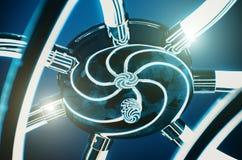 Metaal abstracte spiraal van opgepoetst aluminium licht chroom royalty-vrije stock afbeelding