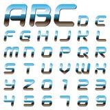 Metaal alfabetbrieven en cijfers Vector Illustratie