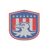 Metaal Amerikaans Kaal Eagle Head Flag Shield Retro Royalty-vrije Stock Foto