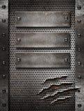 Metaal beschadigde roosterachtergrond met klinknagels Royalty-vrije Stock Fotografie