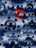 Metaal blauwe radertjes en rode achtergrond Royalty-vrije Stock Foto