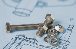 Metaal bouten Hexagon noten drafting Wasmachinesgroep Technische Tekening stock afbeeldingen