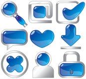 Metaal en blauwe pictogrammen Stock Fotografie